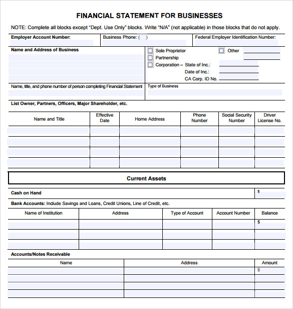 financial statement of a company pdf