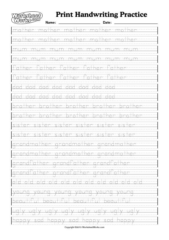 handwriting practice worksheets pdf