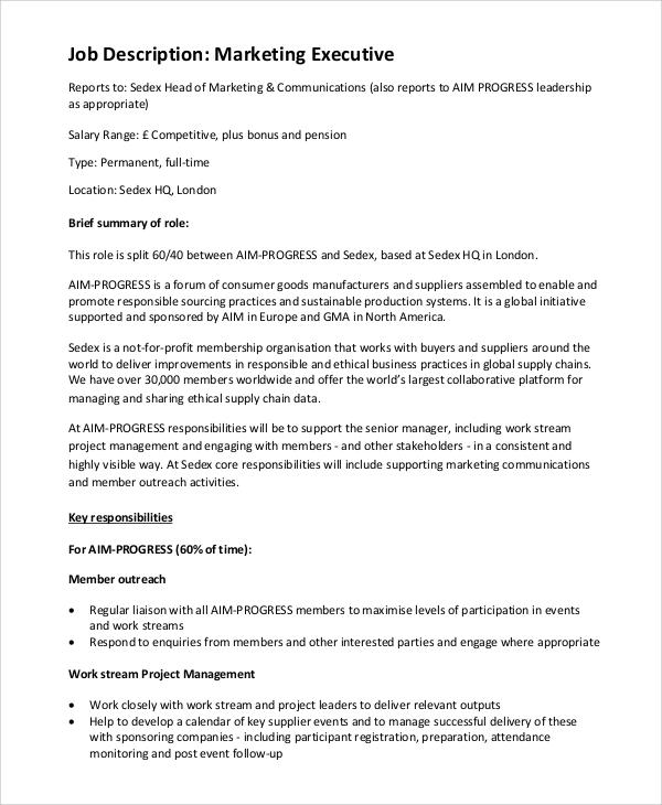 hotel sales executive job description sample