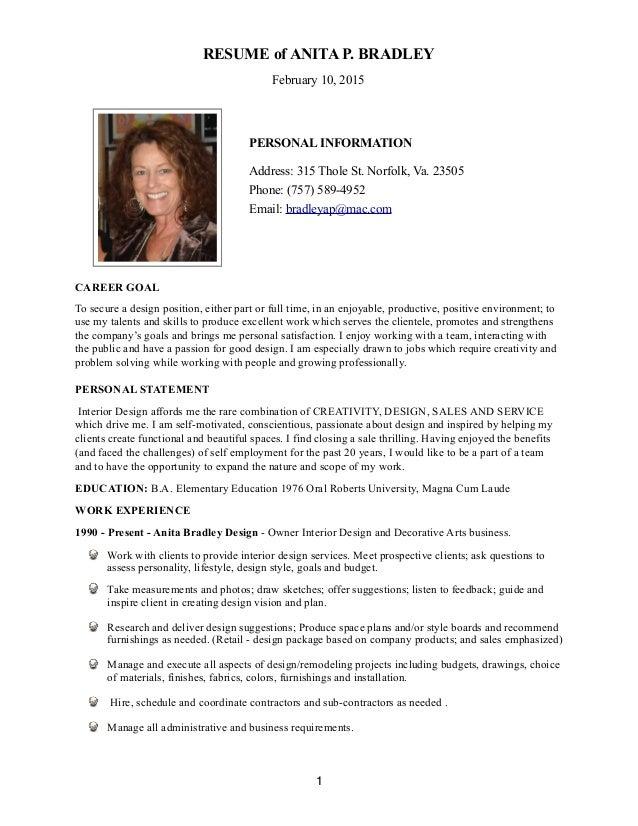interior designer biography sample