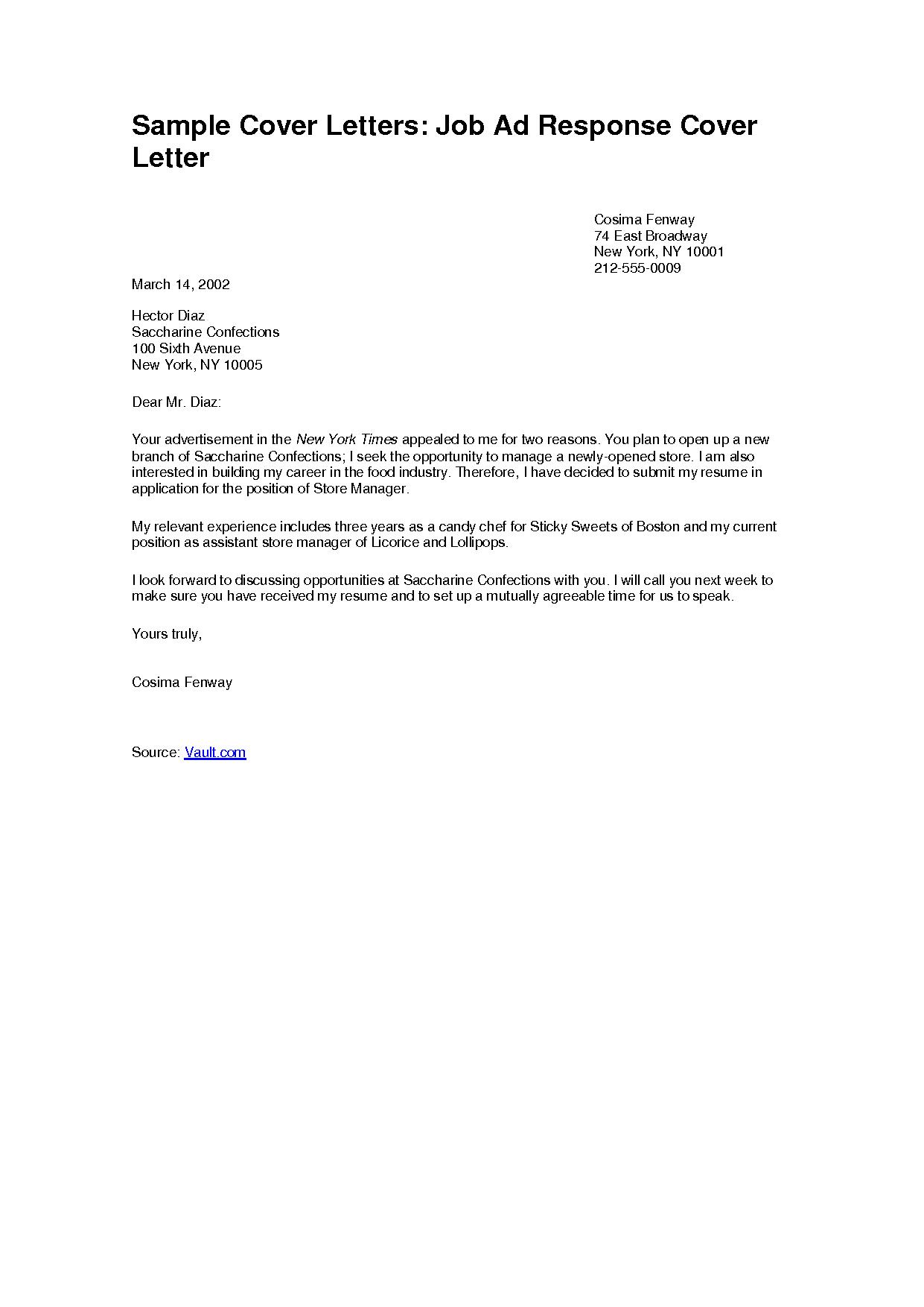 job application cover letter sample nz