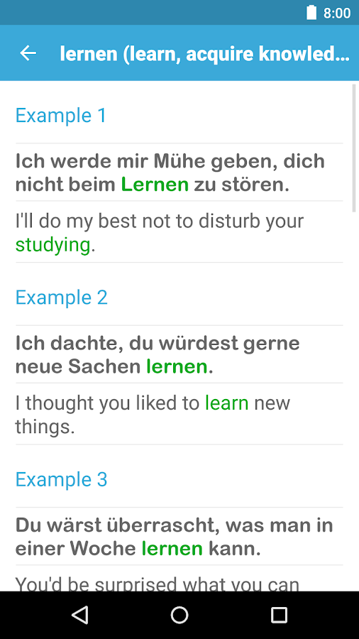 german dictionary with example sentences
