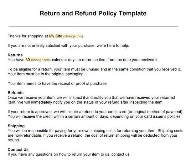 hotel refund policy sample