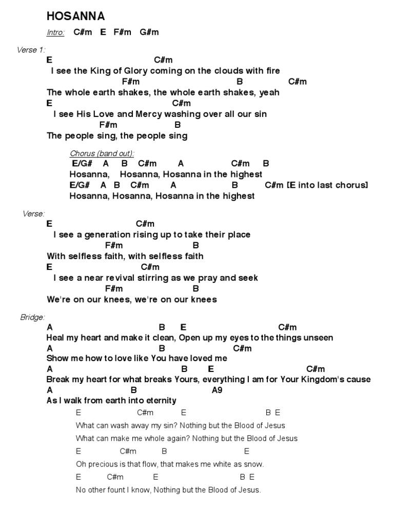 hosanna chords in d pdf