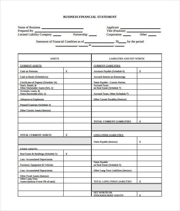 financial statement of a company pdf