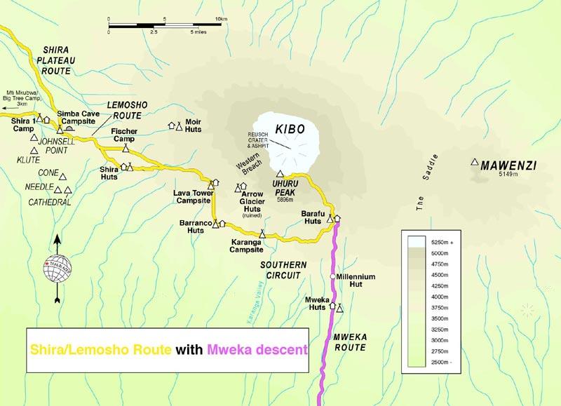 kilimanjaro map and guide