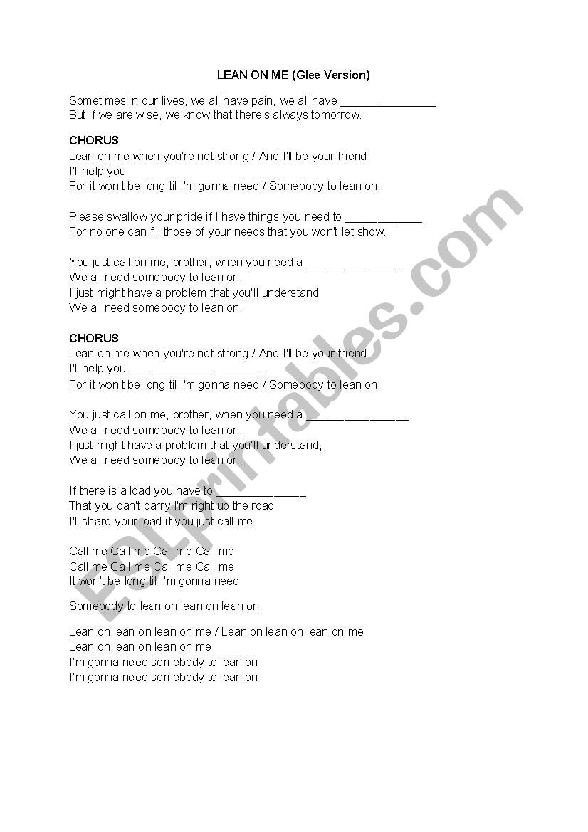 lean on me lyrics pdf
