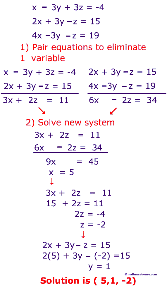 how to solve simultaneous equations with 3 variables pdf