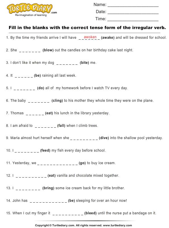irregular verbs worksheet 3rd grade pdf