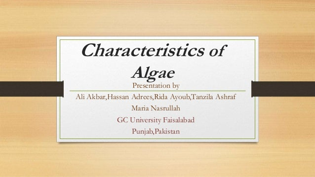 general characteristics of algae pdf download