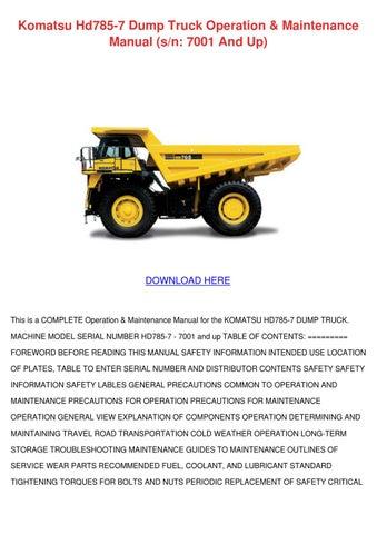 komatsu hd785 7 maintenance manual