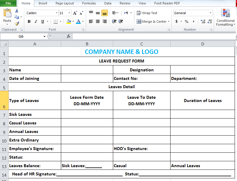 leave application form format for employee